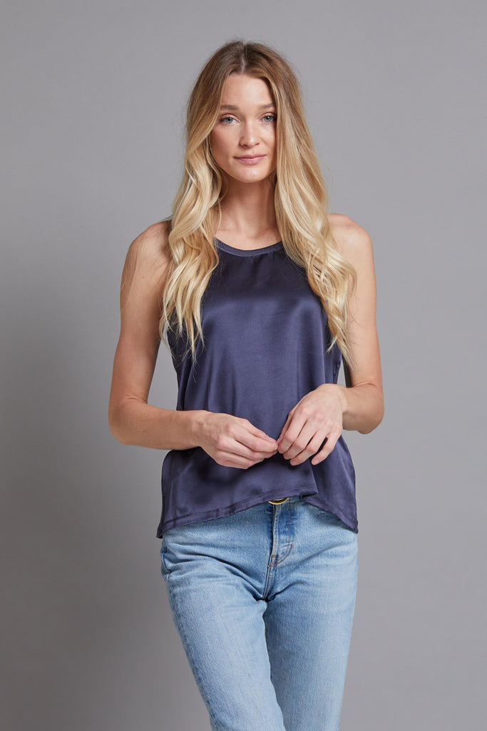 Majestic Silk Front Tank in Navy
