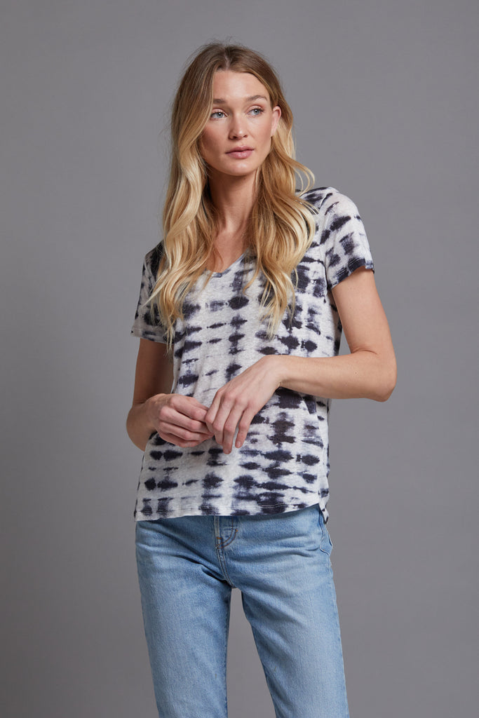 Majestic Linen Short Sleeve Tie Dye V-Neck Tee