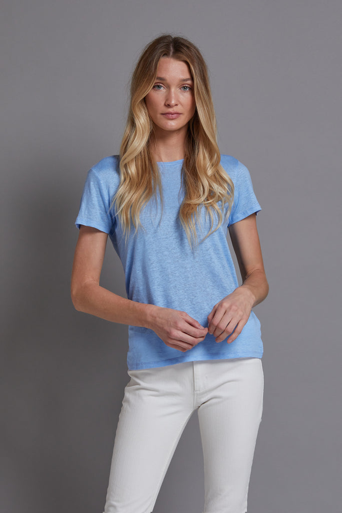 Majestic Linen Short Sleeve Crewneck in Vista Blue