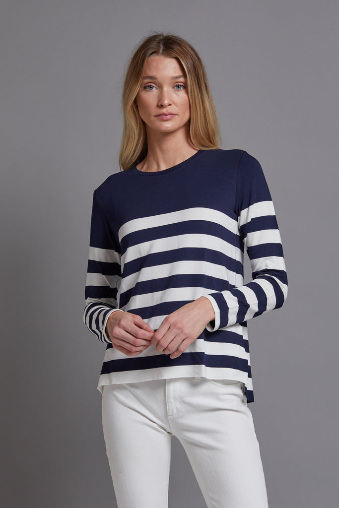 Majestic Long Sleeve French Terry Striped Crew in Navy/Ecru