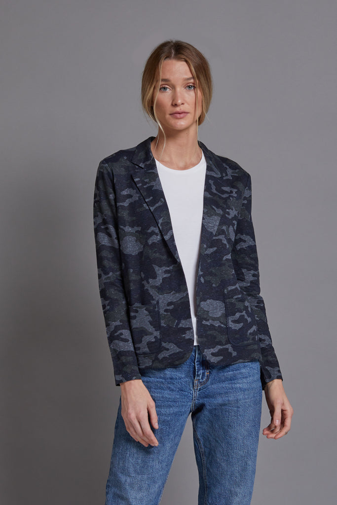 Majestic Linen Open Blazer in Camo