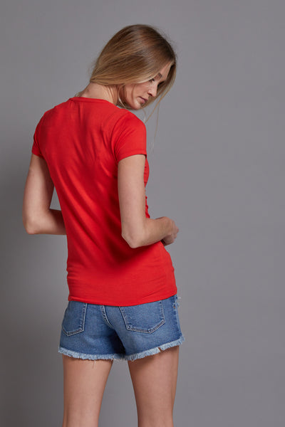 Majestic Short Sleeve V-Neck Tee in Coquelicot