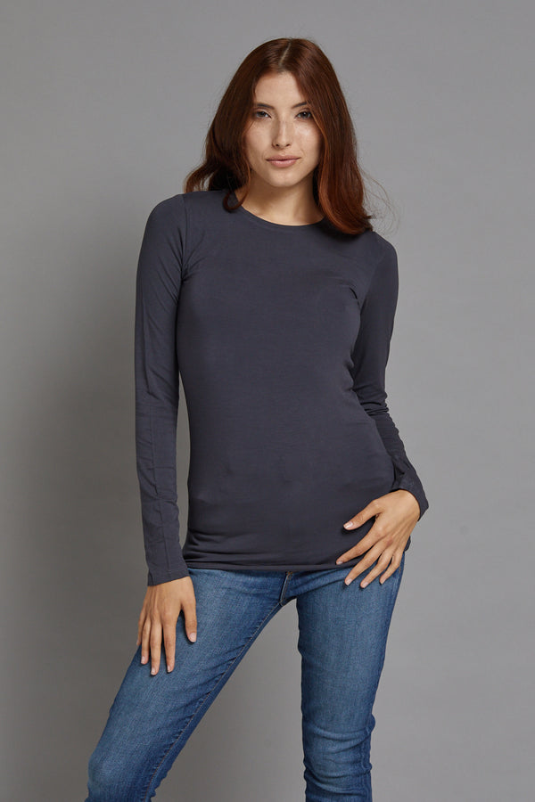 Majestic Long Sleeve Viscose Crewneck in Ombra