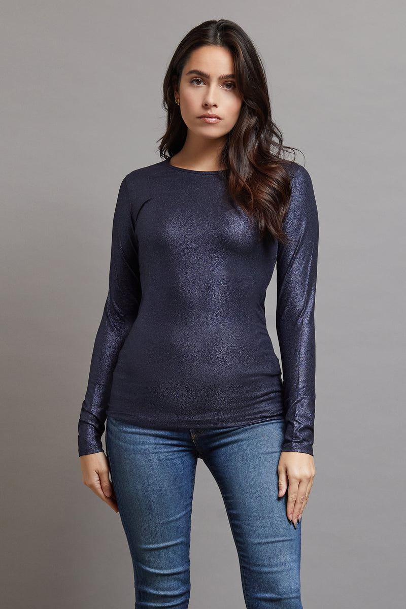 Majestic Metallic Long Sleeve Crewneck in Metal Navy
