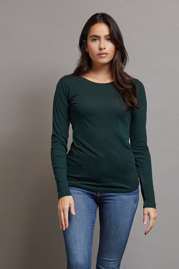 Majestic Long Sleeve Cotton/Cashmere Crewneck in Scarabe