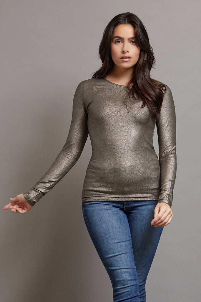 Majestic Metallic Long Sleeve Crewneck in Metal Black Olive