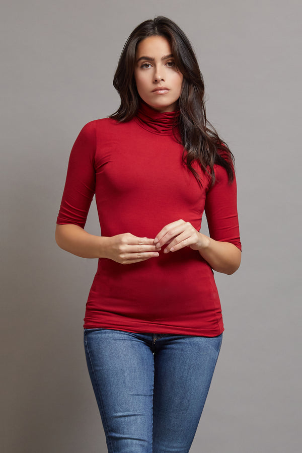 Majestic Elbow Sleeve Turtleneck in Rubis