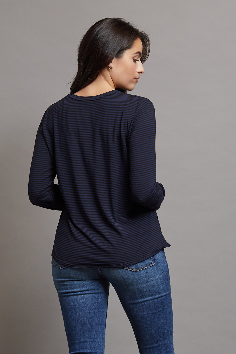 Majestic Long Sleeve Viscose Striped Crewneck in Marine/Noir