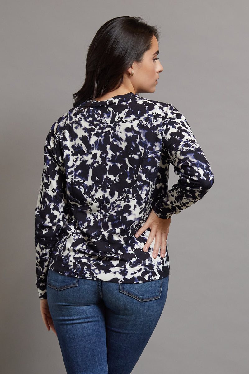 Majestic Long Sleeve Viscose Tie Dye Pullover