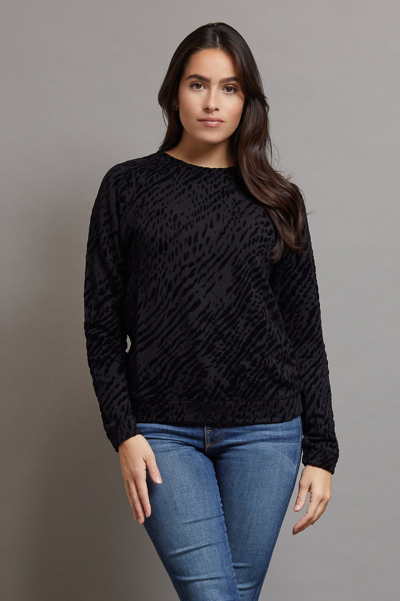 Majestic Long Sleeve Viscose Zebra Print Crewneck