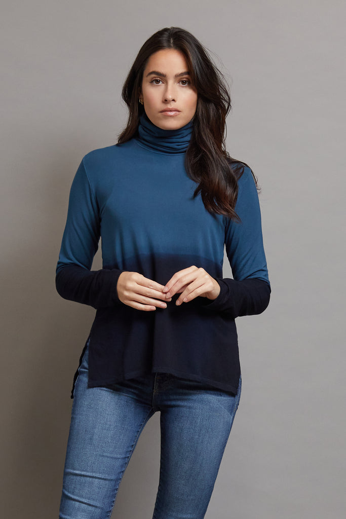 Majestic Long Sleeve Viscose Ombre Turtleneck in Marine
