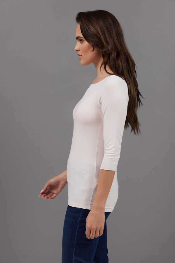 Majestic 3/4 Sleeve Viscose Boatneck Tee in Petale