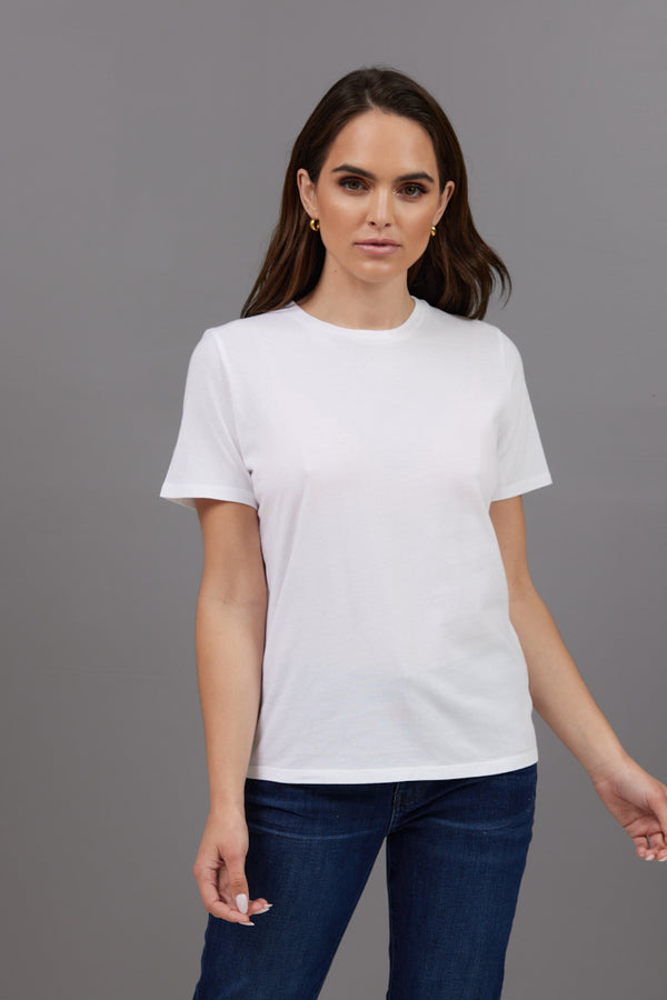 Majestic Short Sleeve Cotton Crewneck Tee in Blanc