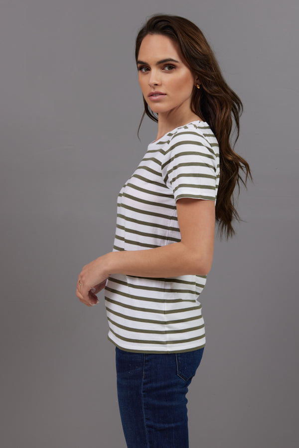 Majestic Short Sleeve Striped Crewneck Tee in Kaki Army