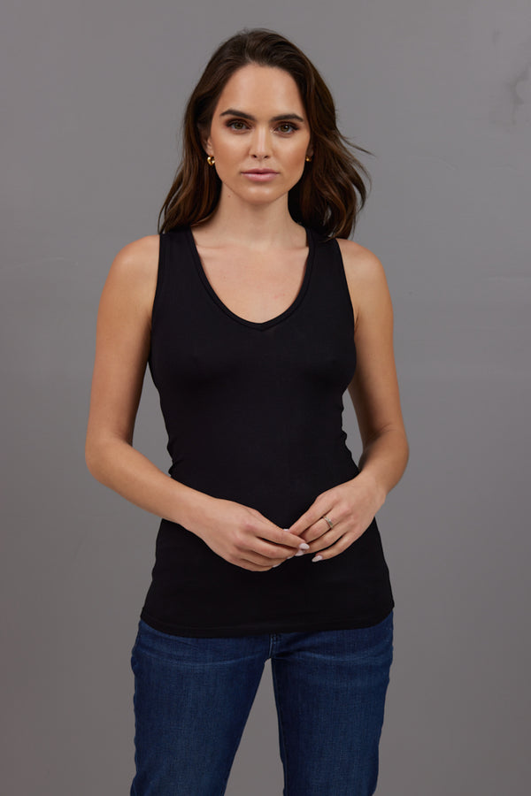 Majestic Sleeveless V Neck Tank in Black