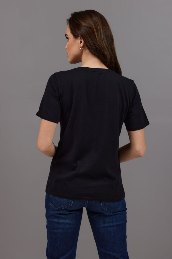 Majestic Short Sleeve Cotton V-Neck Tee in Noir