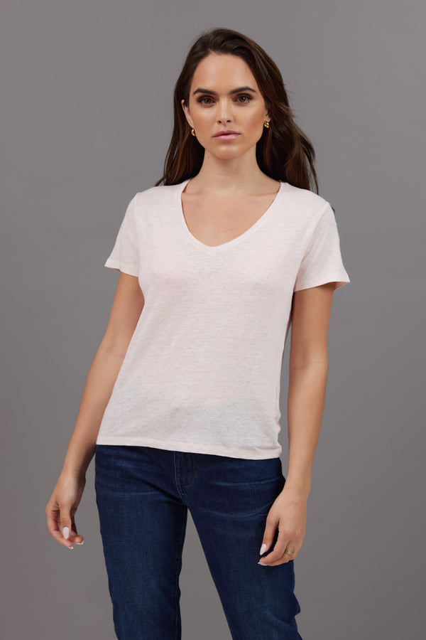 Majestic Short Sleeve Linen V- Neck in Petale