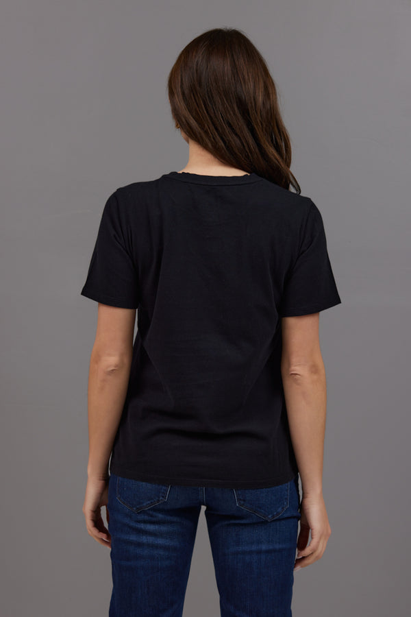 Majestic Short Sleeve Cotton Crewneck Tee in Noir
