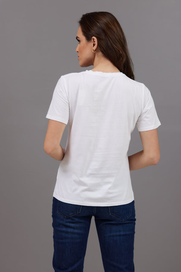 Majestic Short Sleeve Cotton V-Neck Tee in Blanc