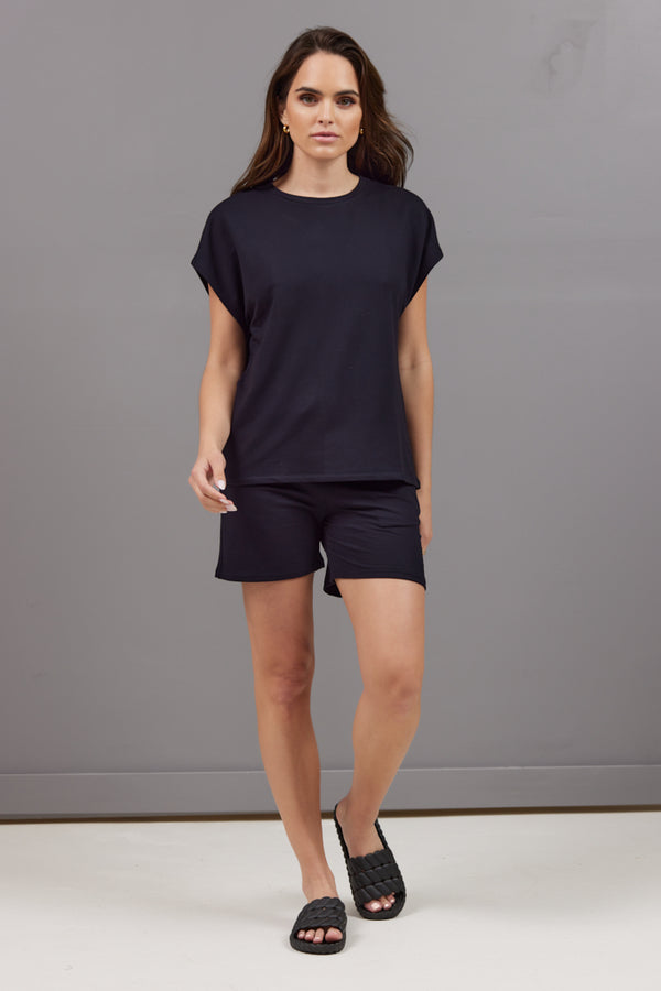 Majestic French Terry Semi Relaxed Tee in Navy