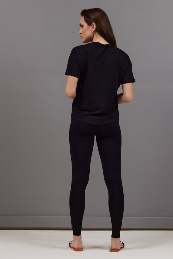 Majestic French Terry Semi Relaxed V-neck Tee in Black