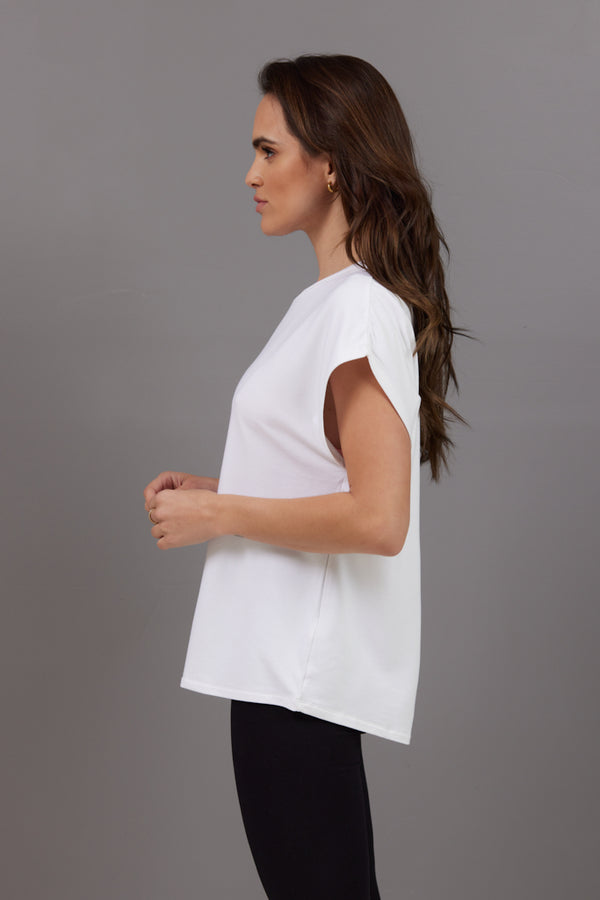 Majestic French Terry Semi Relaxed Tee in White