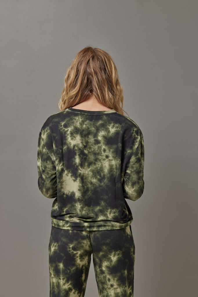 Majestic French Terry Tie Dye Pullover Crew in Kaki