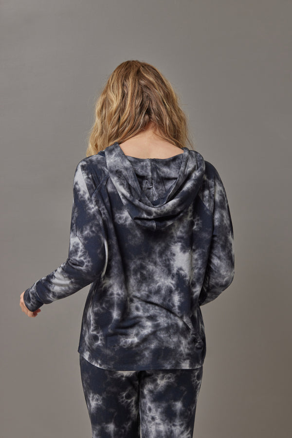 Majestic French Terry Tie Dye Hoodie in Marine