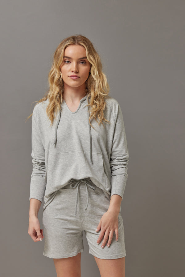 Majestic French Terry Hoodie in Gris Chine Clair