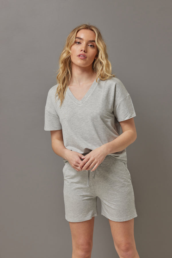 Majestic French Terry Semi Relaxed V Neck in Gris Chine Clair
