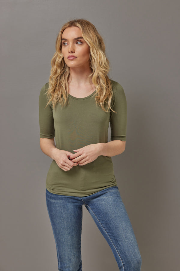 Majestic Elbow Sleeve Scoop Neck Tee in Kaki