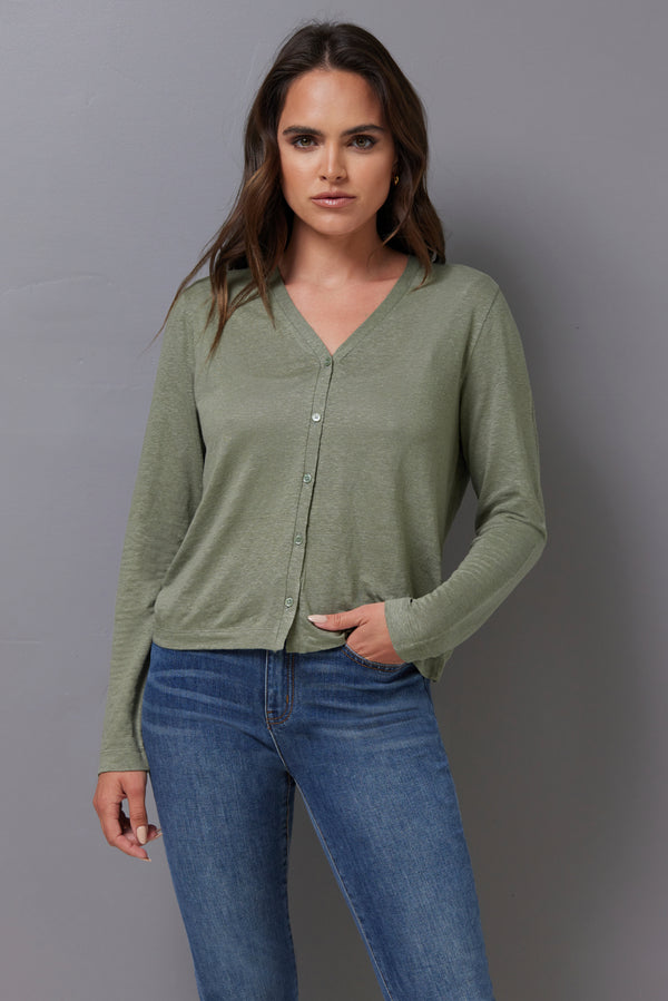 Majestic Stretch Linen Cardigan in Kaki