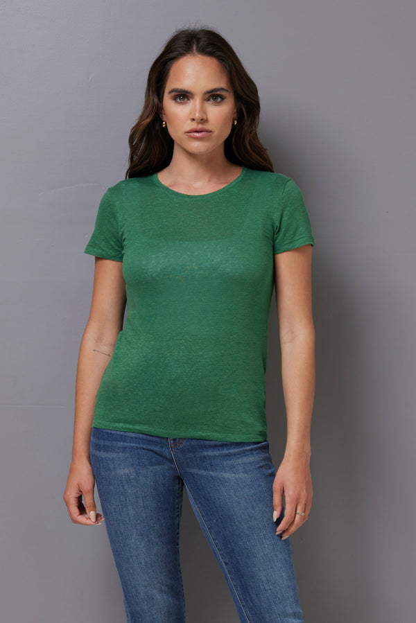 Majestic Short Sleeve Linen Crewneck in Emeraude