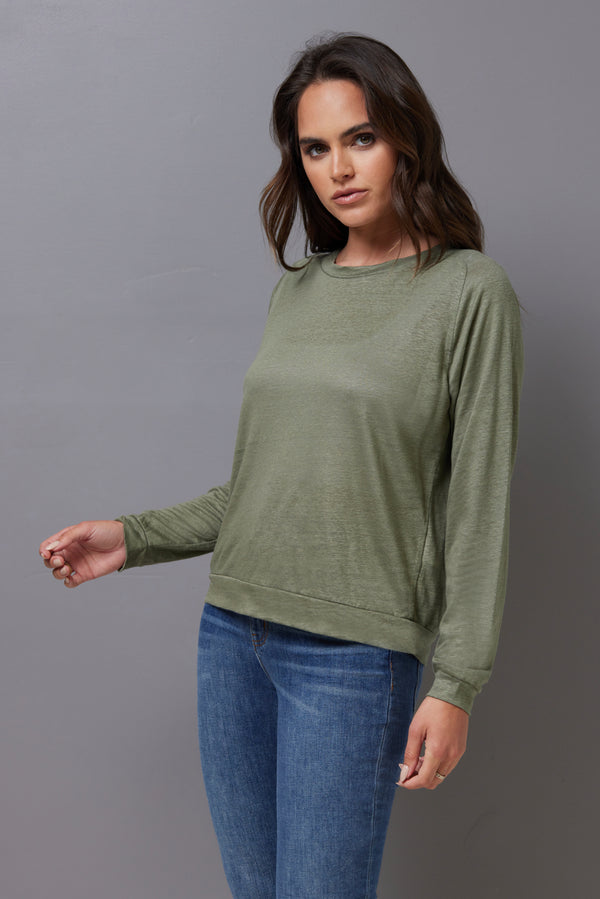 Majestic Long Sleeve Linen Pullover in Kaki