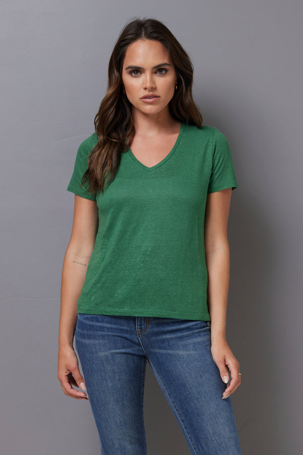 Majestic Short Sleeve Linen V-Neck in Emeraude
