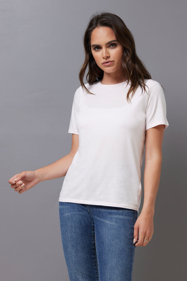 Majestic Short Sleeve Cotton Crewneck Tee in Petale