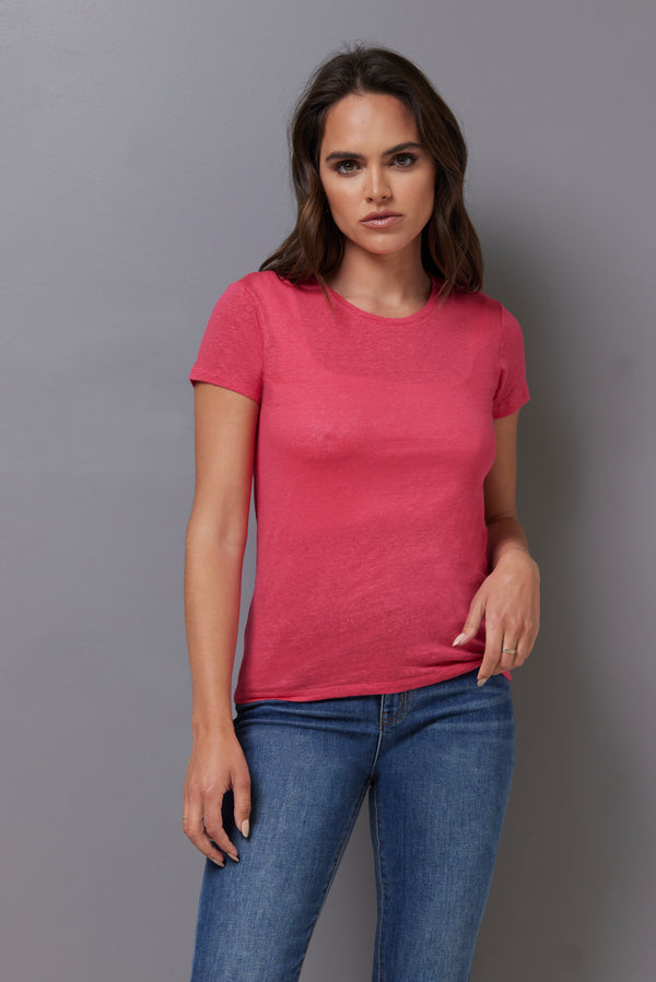 Majestic Short Sleeve Linen Crewneck in Rose Indien