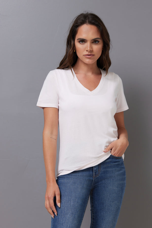 Majestic Short Sleeve Cotton V-Neck Tee in Petale