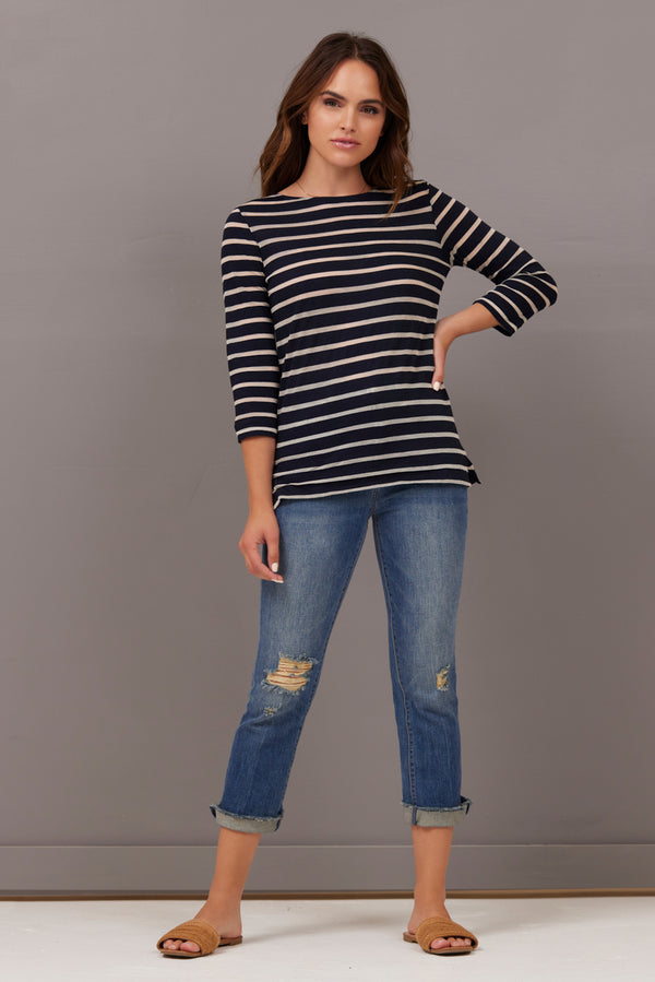 Majestic 3/4 Sleeve Stripe Boatneck Tee in Marine