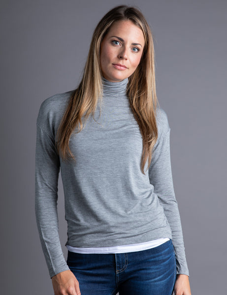Majestic Long Sleeve Double Layer Turtleneck in Charcoal Grey