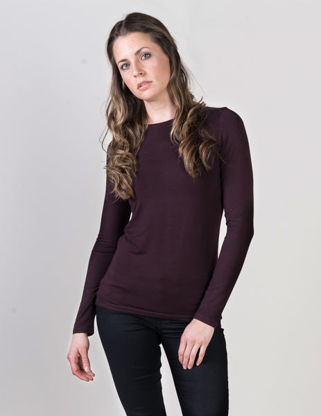 Majestic Long Sleeve Viscose Crewneck in Aubergine