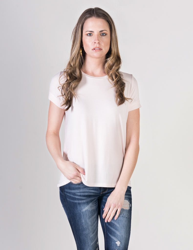 Majestic Short Sleeve Crewneck Swing Tee in Petal