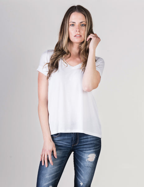 Majestic Short Sleeve V-Neck Relaxed Tee in White