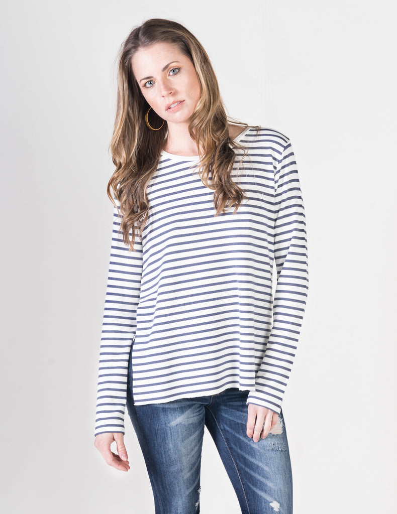 Majestic Long Sleeve Striped Crewneck