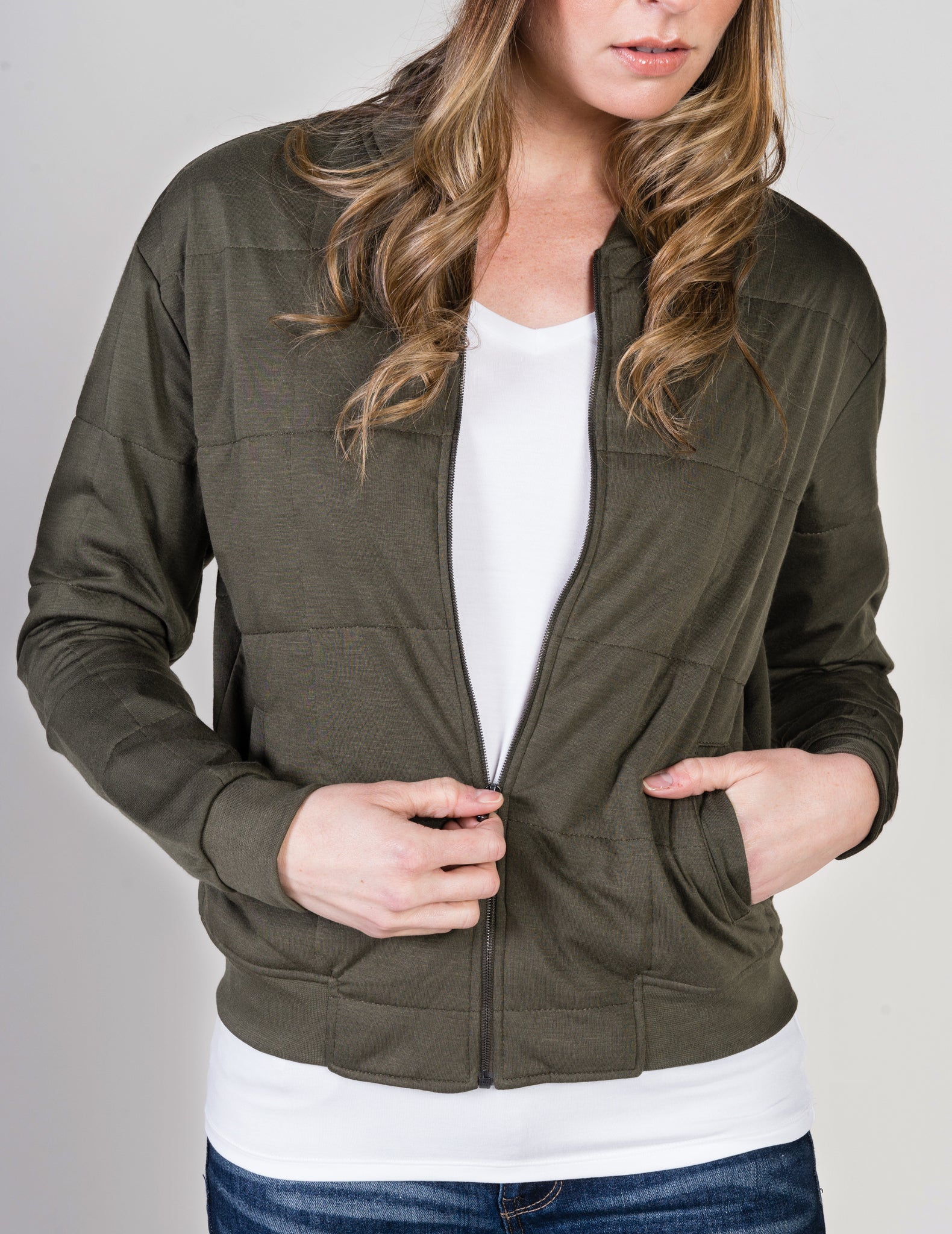 Majestic Quilted Bomber Jacket In Military Green Clothes By Majestic