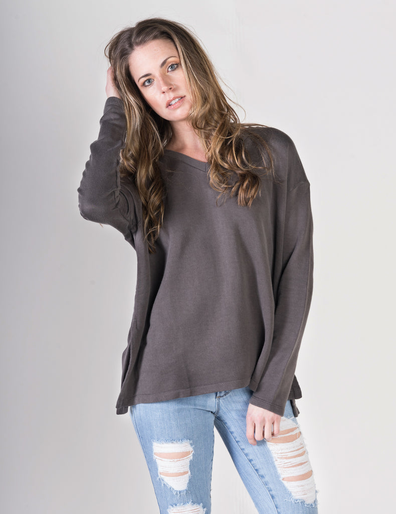 Majestic Long Sleeve Cotton Viscose V- Neck in Caviar
