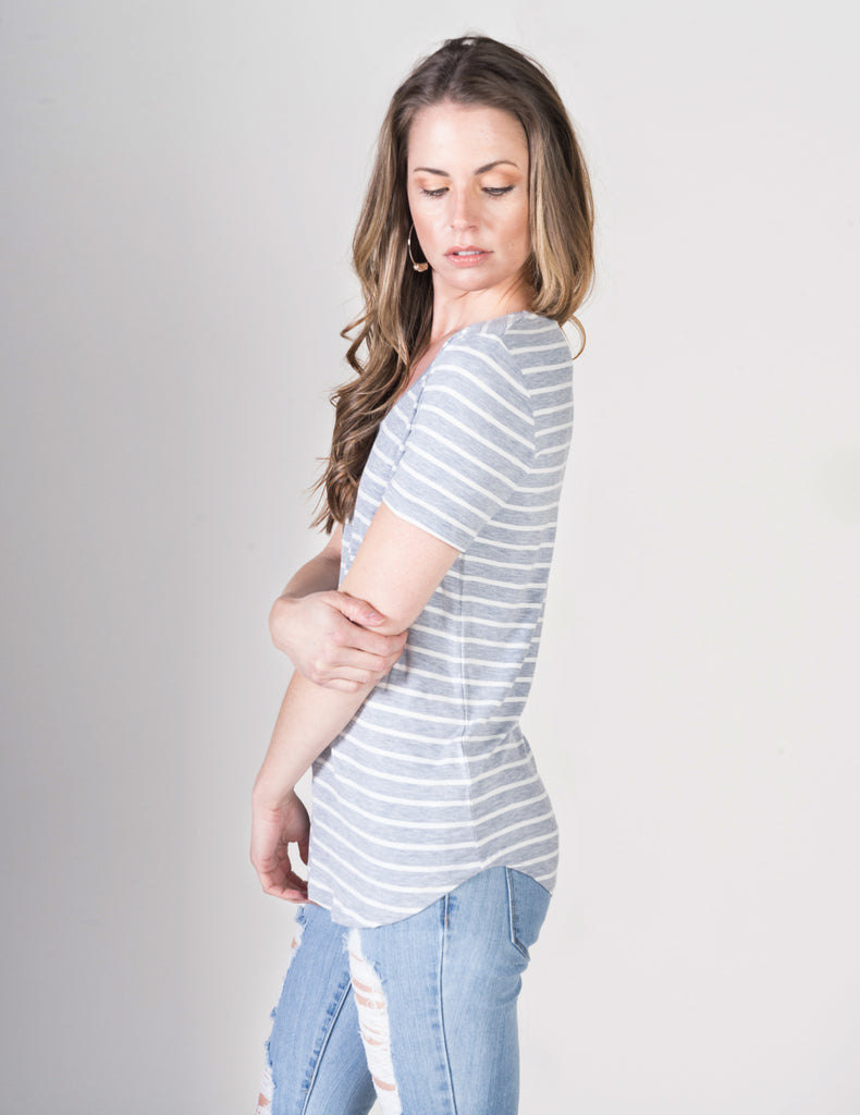 Majestic Extrafine Short Sleeve Striped V-Neck Tee