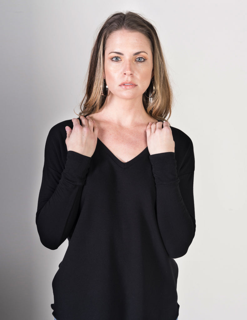 Majestic French Touch Long Sleeve Drop Shoulder V- Neck in Black