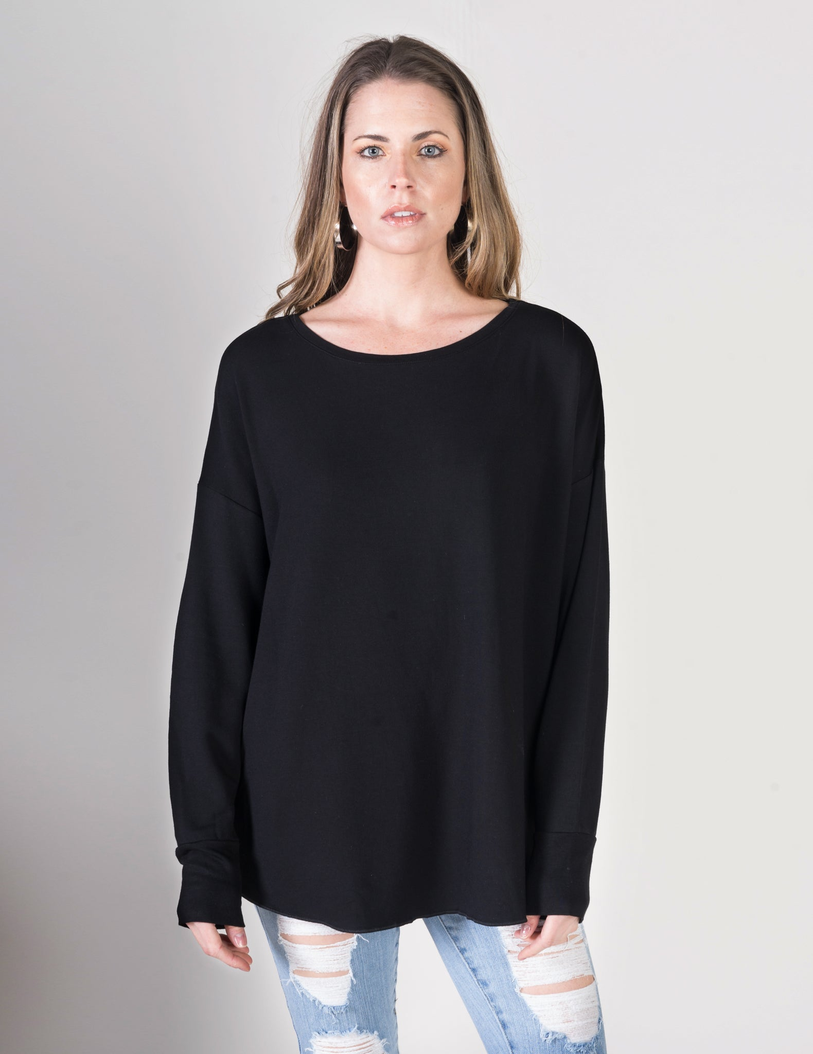 Majestic Long Sleeve Viscose Oversized Crew Tee in Black