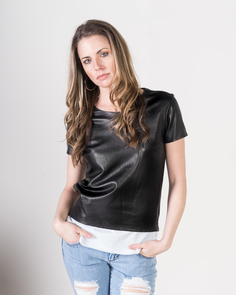Majestic Leather Over Lay Tee in Black